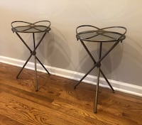 Round Vintage Gold Mirrored Accent Tables - Like New - (set of 2) Washington, 20003
