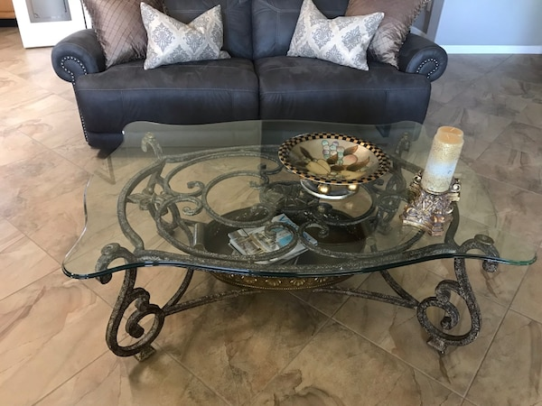 Neutral Color Wrought Iron Coffee Table With Heavy Duty Beveled Glass Top