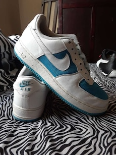 white-and-blue Nike Air Force low