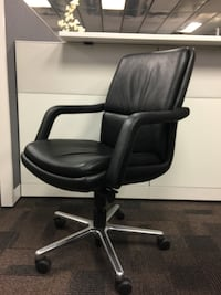Keilhauer Leather Chair with Polished Aluminum Base Markham