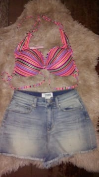 women's blue and pink denim short shorts Akron, 44303