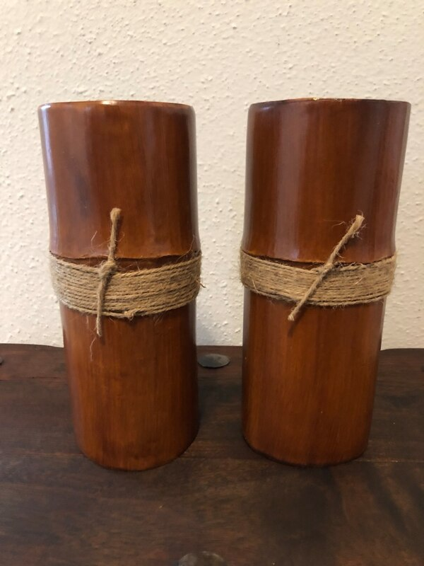 Pair Of Wood Candle Holders Bill Blass Home Decor