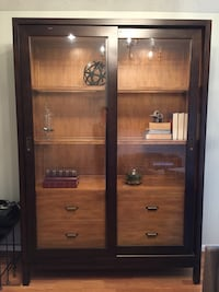 Brown wooden clear glass cabinet