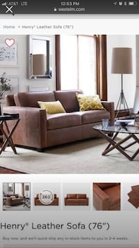 "West Elm ""Henry"" Italian Leather Sofa and ottoman. Austin, 78758"