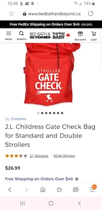 J.L. Childress Gate Check Bag for Standard and Double Strollers   Brampton, L6R 1L5