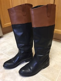 Black and Brown Knee High Boots