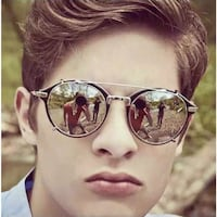 MSPACE KEITH RETRO REFLECTIVE ROUND FRAME SUNGLASSES