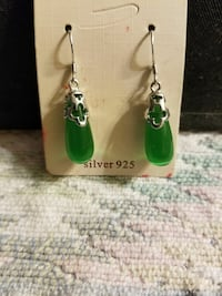 pair of silver Emerald hook earrings