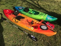 2 kayaks - set up for fishing. GPS/Fishfinder and rod holders
