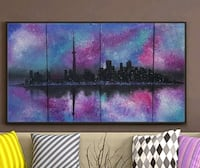 48x24 inches Toronto skyline acrylic painting  Richmond Hill, L4C 1W6