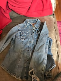 Gray denim button-up jacket women's size small