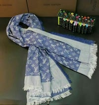 white and blue Louis Vuitton fringe scarf Vancouver, V6P 2X2