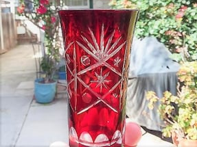 Ruby/cranberry etched cut-glass, vintage