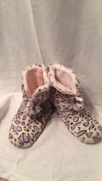 Leopard print slipper booties