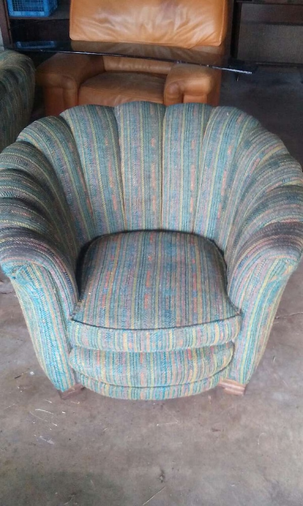 Astonishing Blue Pink And Yellow Striped Sofa Chair Andrewgaddart Wooden Chair Designs For Living Room Andrewgaddartcom