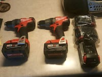 two red and black cordless power drills Homer Glen, 60491