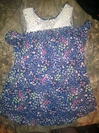 blue and white floral spaghetti strap top Anderson