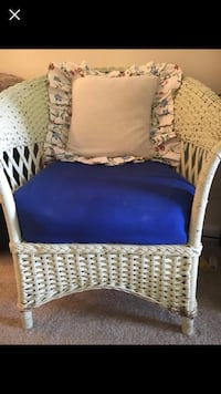 white wicker frame blue padded chair Washington, 20024