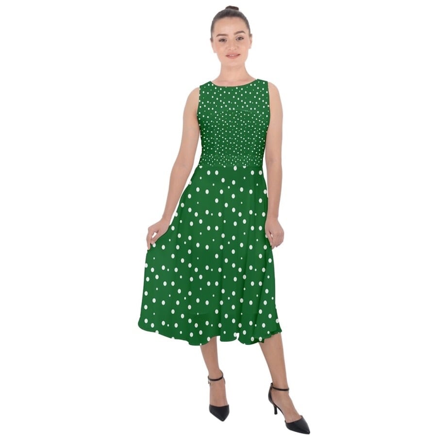 Green Dress with dots