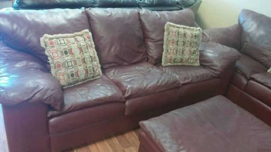 Sealy Burgundy Real Leather Sofa Set