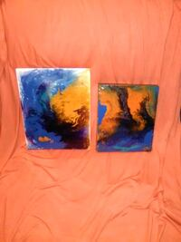 two blue and orange abstract paintings Stone Mountain, 30083