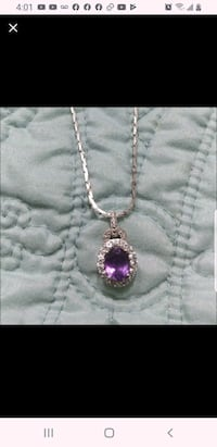 Diamond necklace with amethyst stone and white gold chain