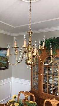 Brass and white uplight chandelier Wall Township, 07719