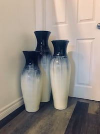 Three white-and-black ceramic flower vases Burlington, L7L 6X3