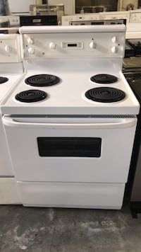 white and black electric coil range oven Toronto, M9M
