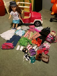 """18"""" doll with jeep and all accessories shown"""