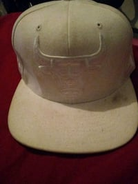 Gray and white fitted cap