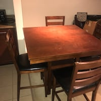 rectangular brown wooden table with six chairs dining set Herndon, 20170