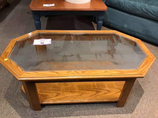 Used Oak Gl Top Coffee Table With Deer Print 68030 For In