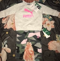 New Puma 3-6 month sweat suit with camouflage pants .