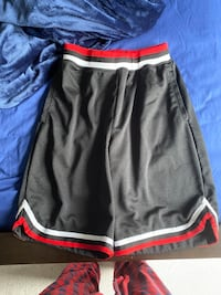 Black and red basketball shorts