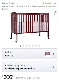 """New cherry crib """"Dream On Me"""" new in box. Mattress available for $20   Las Vegas, 89118"""
