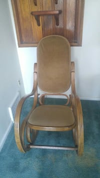 brown wooden framed gray padded armchair Broomall, 19008