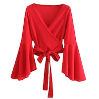 BOOPDO FRENCH DESIGN CROPPED BLOUSE WITH FLUTTER SLEEVE IN RED