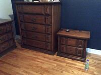 1960s solid wood bedroom set. Woman's dresser with mirror,mans dresser and two night tables. Laval, H7T 1V7