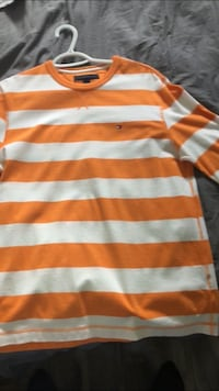 orange and white striped polo shirt
