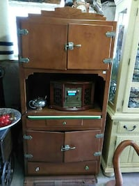 brown wooden TV hutch with flat screen television Lincoln, L0R 2E0