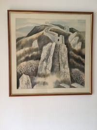 oil painting on solid wood frame and great wall of china sketch drawing - moving sale - pick up this weekend only! Montréal, H1M 2Y9