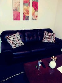 Leather loveseat and sofa with accent chair