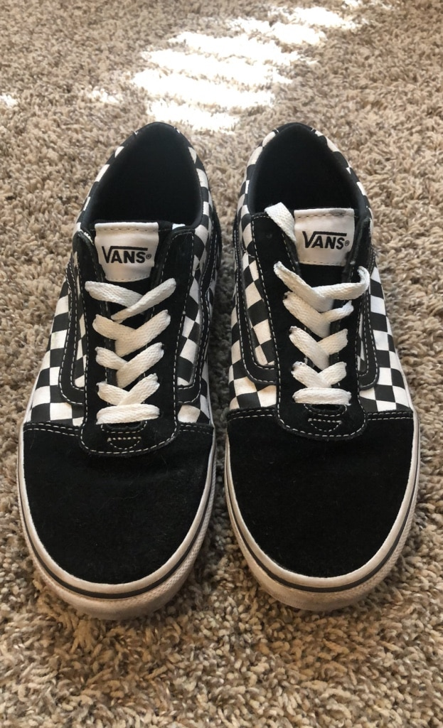 Photo Vans Old School Checkered Boys Youth black and White Size 4Y