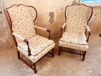 Great Farmhouse Decor - Lovely Pair of Wood & Upholstered Wingback Chairs Baltimore, 21205