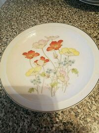 round white and pink floral ceramic plate Clearwater, 33765