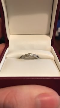 Sterling silver genuine diamond promise ring