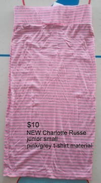NEW Charlotte Russe Pink/Grey Striped Skirt Martinsburg, WV, USA