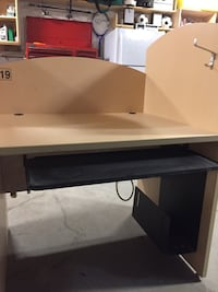 Computer study desk with built in power box