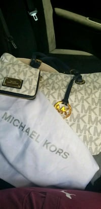 monogrammed white and gray Michael Kors leather tote bag Taylors, 29687